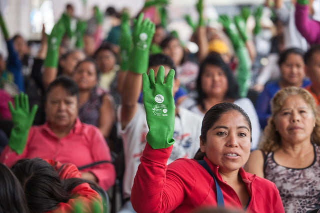 Mujeres se reunieron en la Alameda Central para conmemorar el Día Internacional de las Trabajadoras del Hogar